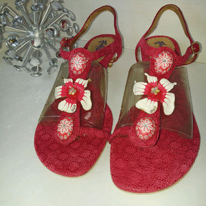 Never used Hale Bob sandal, size 9.5, pink leather
